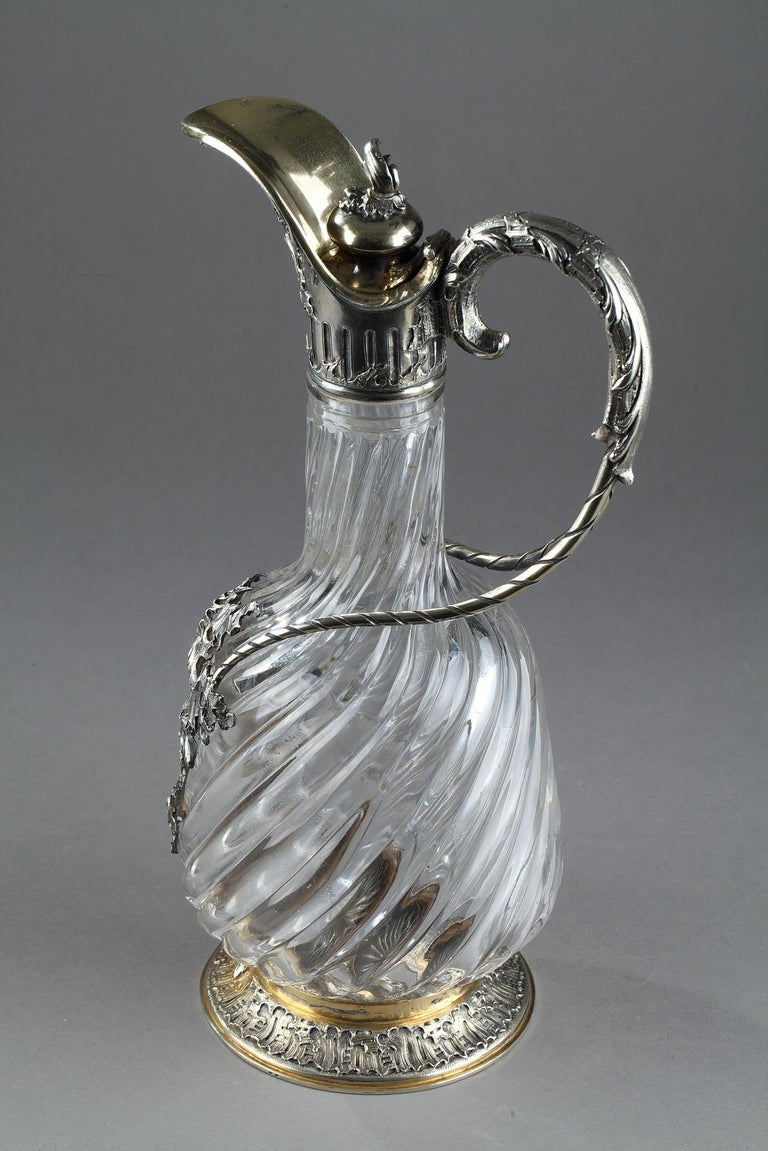 Louis XV Ewer in Silver and Crystal, Late 19th Century For Sale