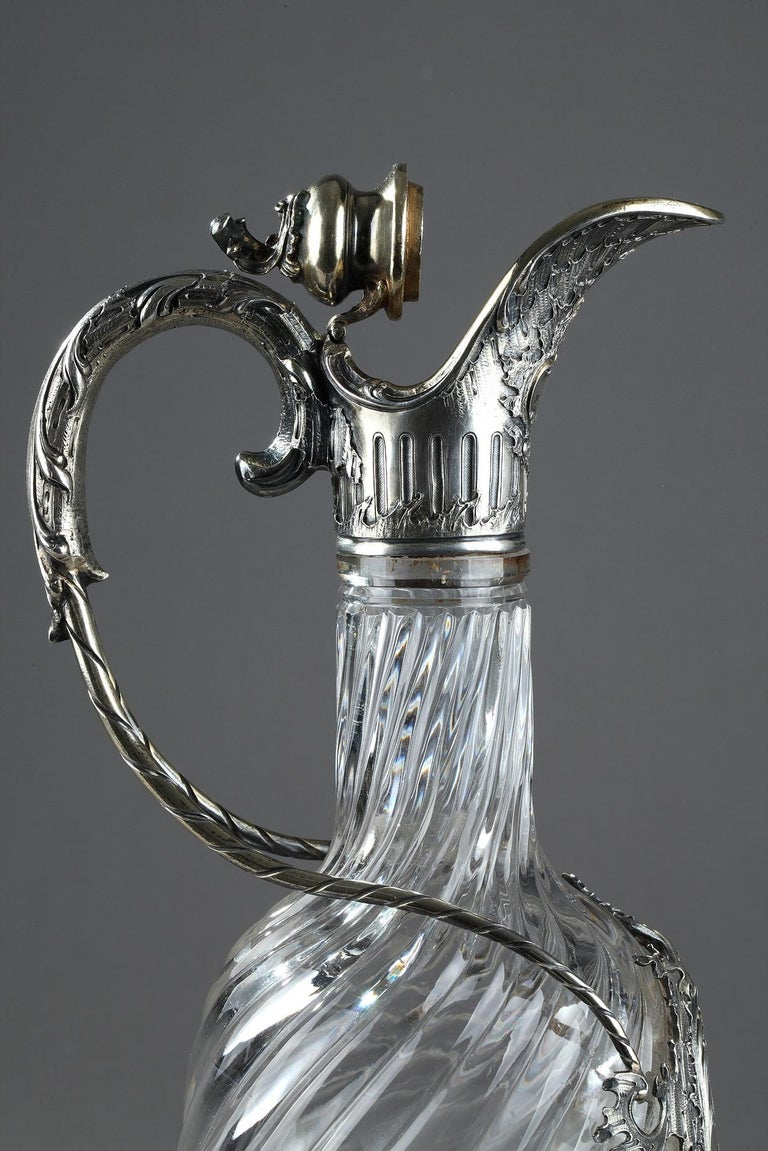 French Ewer in Silver and Crystal, Late 19th Century For Sale