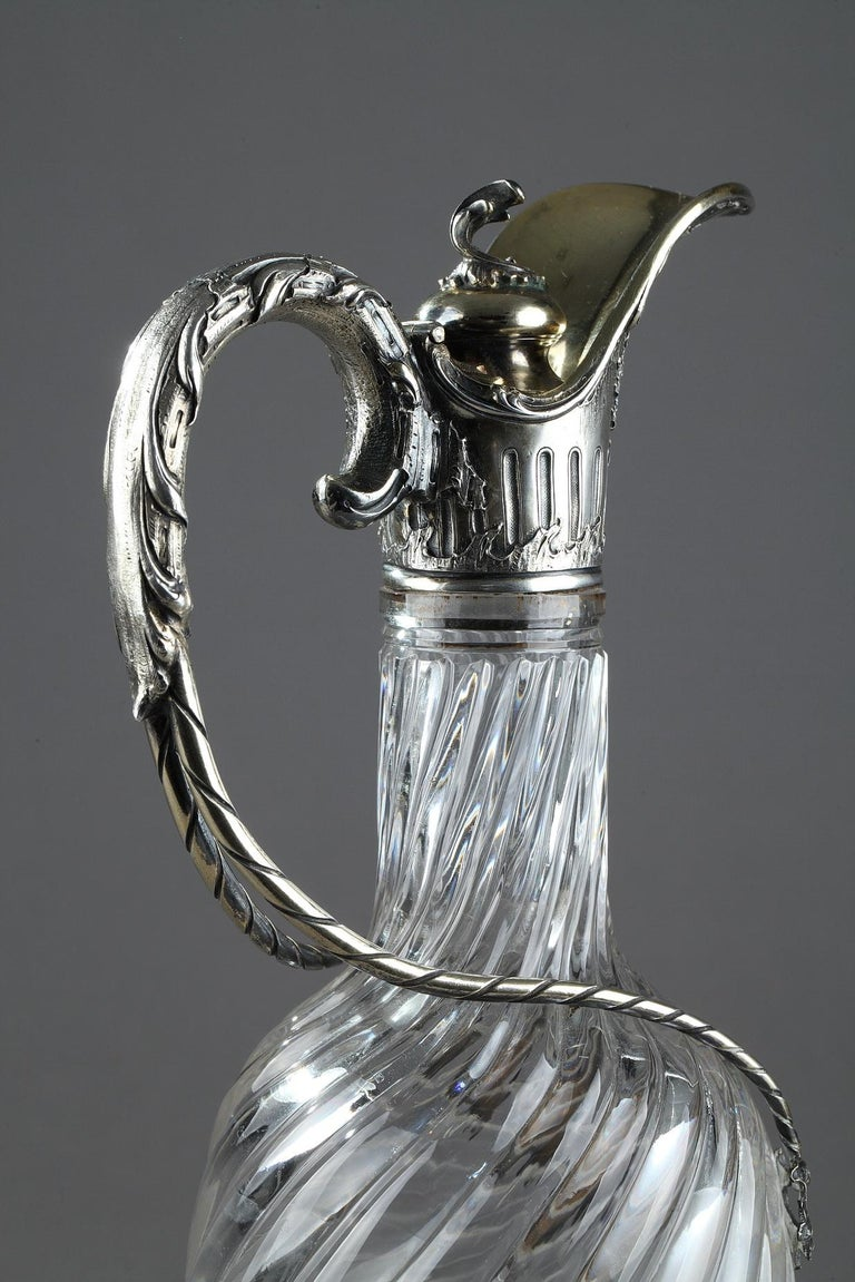 Ewer in Silver and Crystal, Late 19th Century In Good Condition For Sale In Paris, FR