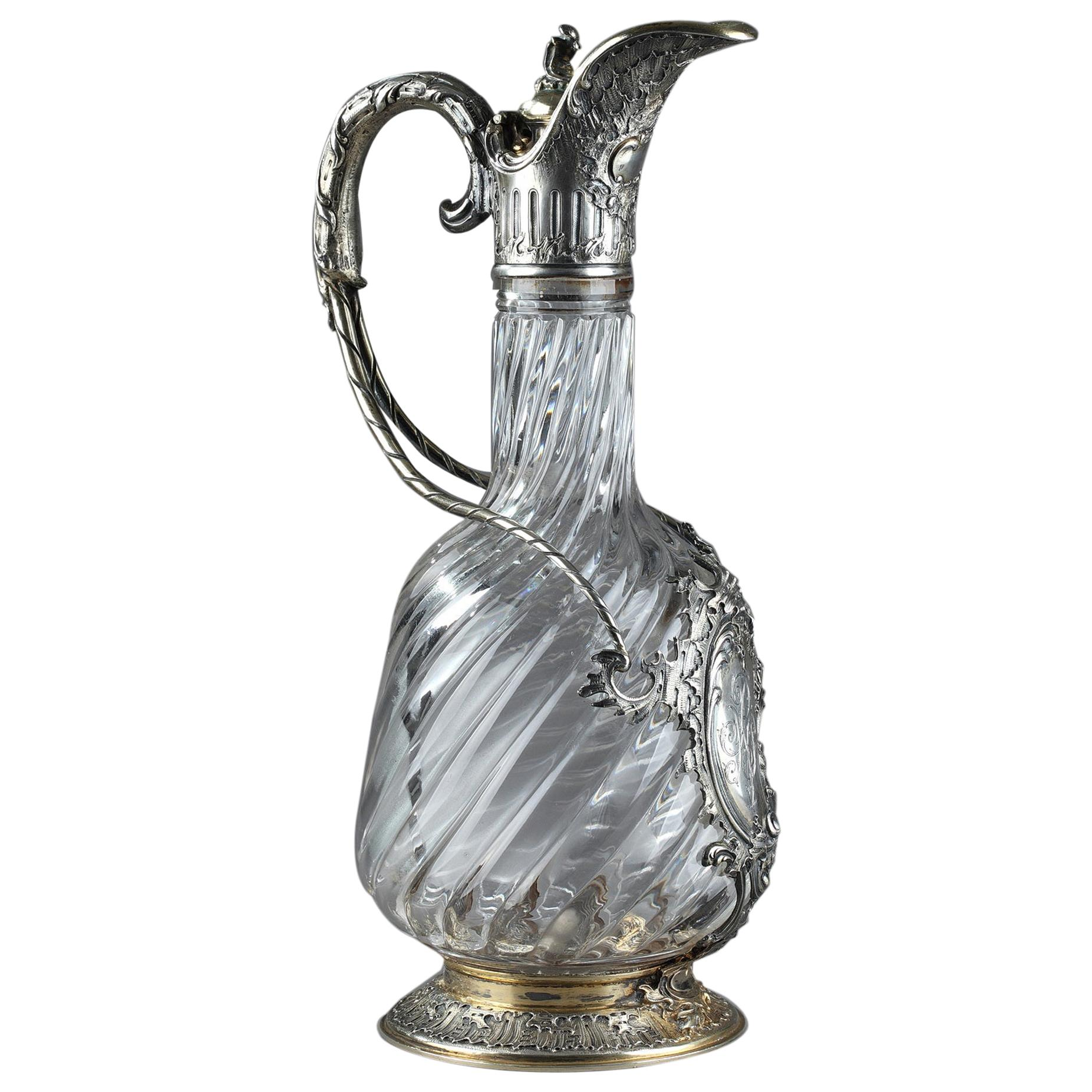 Ewer in Silver and Crystal, Late 19th Century