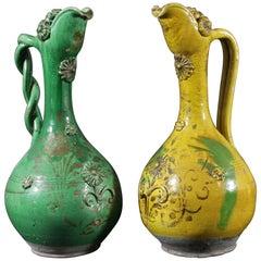 Ewers Jugs Vases Terracotta Glazed Pair Canakkale Ottoman Green Ochre Gilded