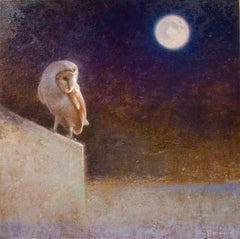 Barn Owl and Moon (owl, moon, wall, night)