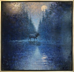 Crossing Elk Nocturne (elk, night, river, moonlight)