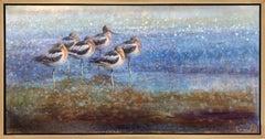 Resting Avocets (flock of birds, beach, depth, harmony)