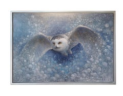 Snowy Owl #11 (snow, whimsey, blue, silver)