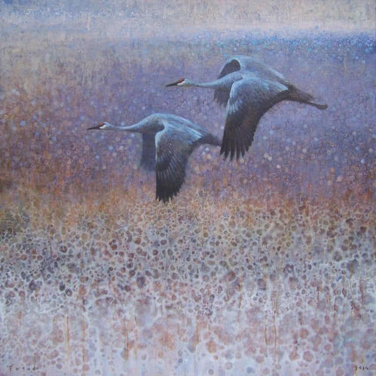Ewoud de Groot Abstract Painting - Two Sandhill Cranes