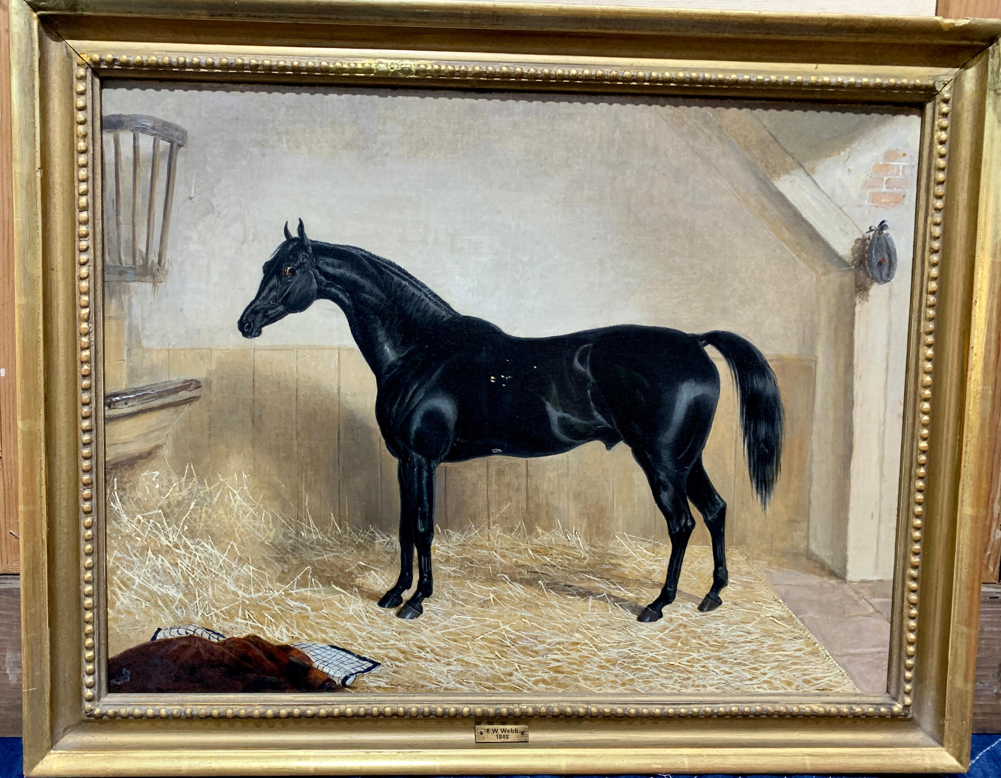 19th century English Victorian oil portrait of a black Horse in a stable.