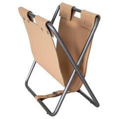 Ex Magazine Rack with a Leather Storage Compartment for Your Reading Materials