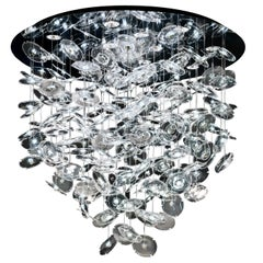 Exagon 7128 Ceiling Lamp in Glass with Polished Chrome, by Barovier&Toso