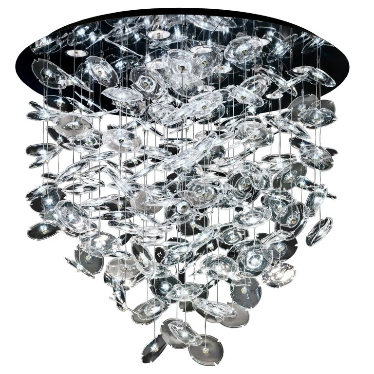 For Sale: Clear (Crystal_CC) Exagon 7128 Suspension Lamp in Glass with Polished Chrome, by Barovier&Toso