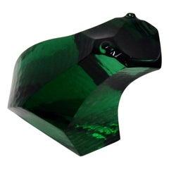 Exbor Green Glass Abstract Frog Figure