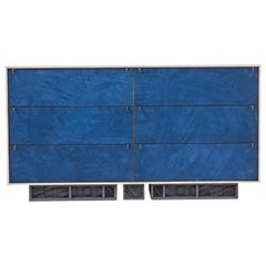 Excavated Wardrobe in Blue Suede and Oxidized Maple with Cast Pewter handles