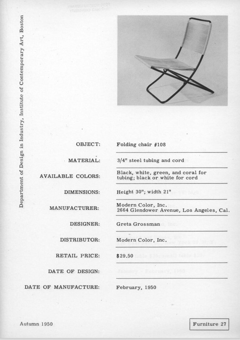 Exceedingly Rare Greta Grossman Folding Chairs For Sale 8