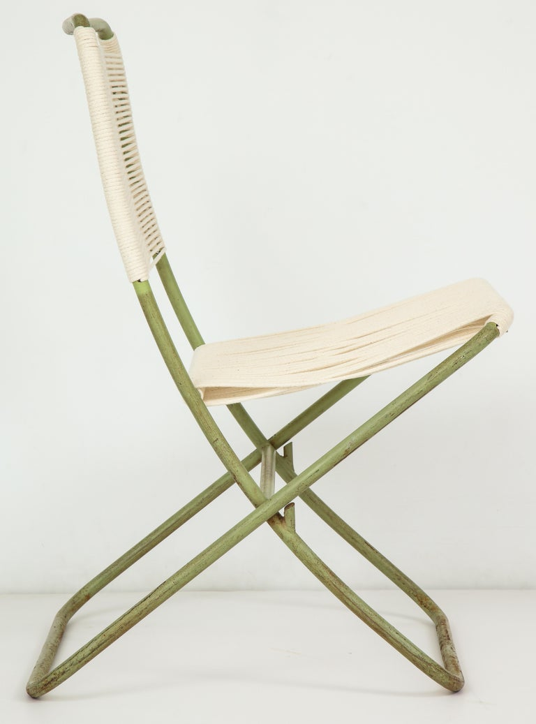 Exceedingly Rare Greta Grossman Folding Chairs In Fair Condition For Sale In New York, NY