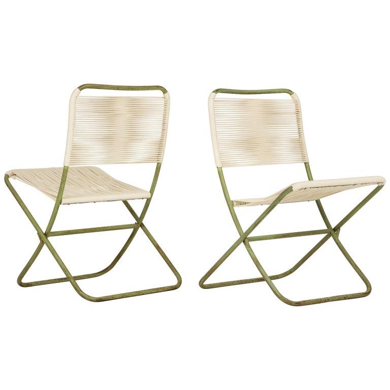 Exceedingly Rare Greta Grossman Folding Chairs For Sale