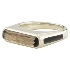 Excellence Side Band Ring Smokey Quartz + Black Mother of Pearl in White Gold