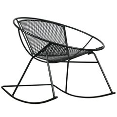Excellent 1950s Modernist Iron Hoop Radial Patio Rocking Chair by Salterini