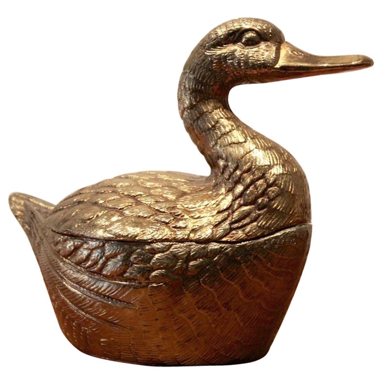 Excellent Brass 'Duck' Ice Bucket, Belgium, 1970s