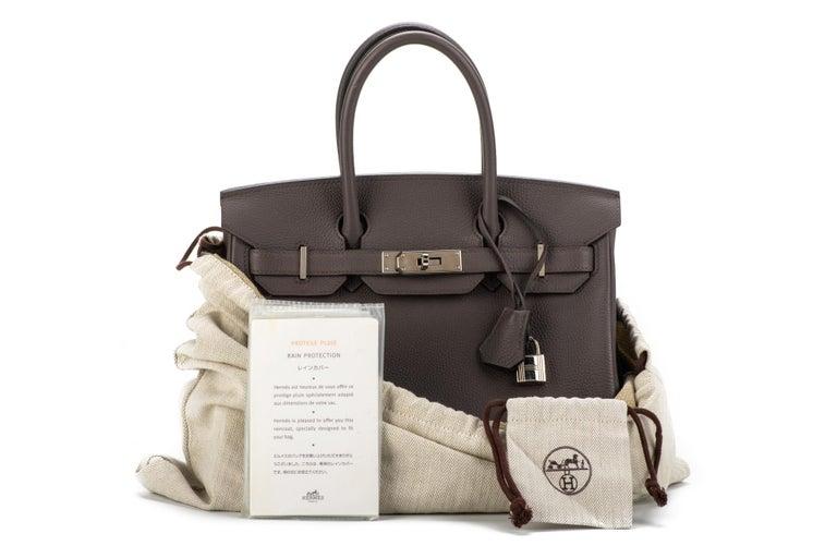 Hermès 30cm Birkin in etain togo leather with palladium hardware. Handle drop, 3.75