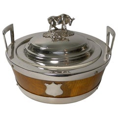 """Excellent Oak and Silver Plate """"Cow"""" Butter Dish, circa 1890"""