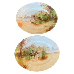 Excellent Pair of Limoges Oval Equestrian Hunting Hand Painted Platters