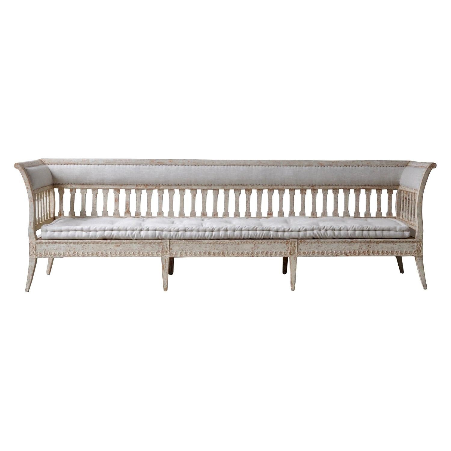 Exception Period Gustavian Long Sofa in Original Paint