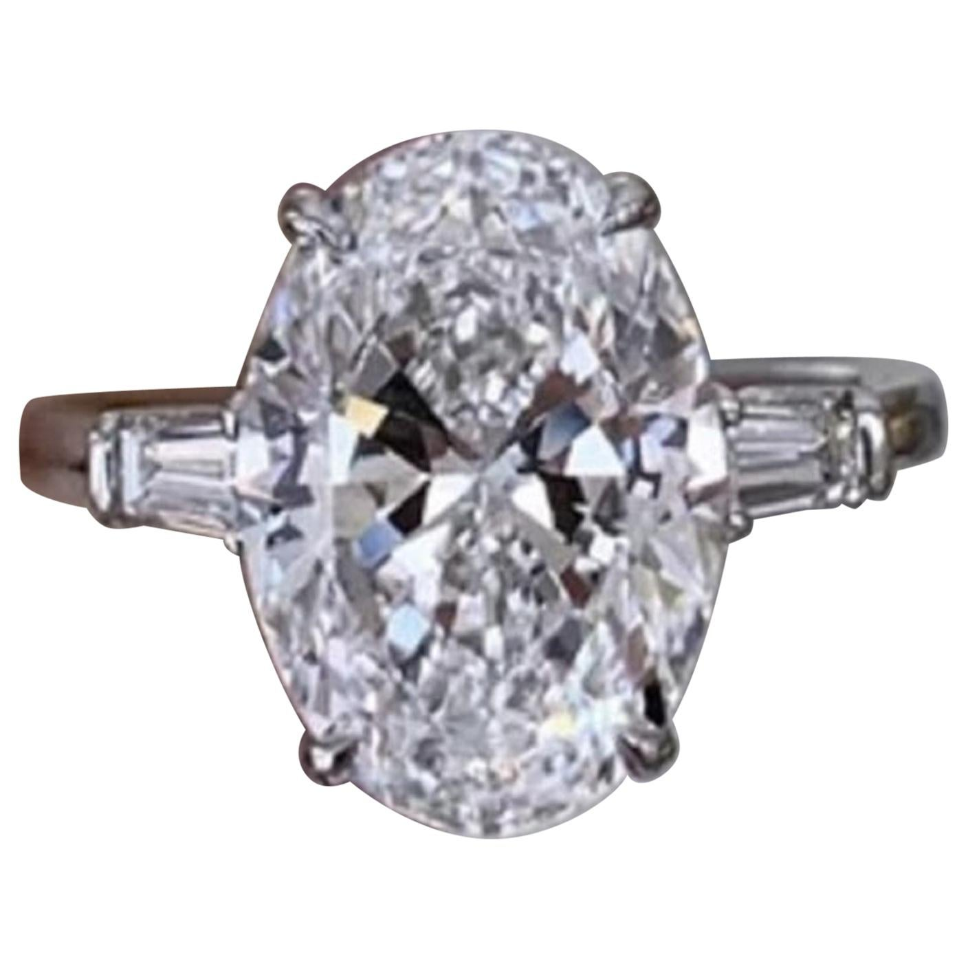 FLAWLESS D Color GIA Certified 5.65 Carat Oval Cut White Diamond Ring