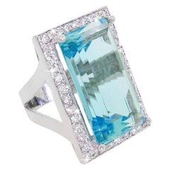 Exceptional 14 Karat 31ct Aquamarine 1.25 Carat Diamond Halo Ring with Appraisal