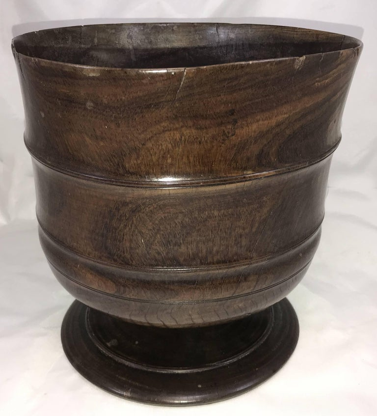 Turned Exceptional 17th Century Carved English Wassail Bowl in Figured Lignum Vitae For Sale