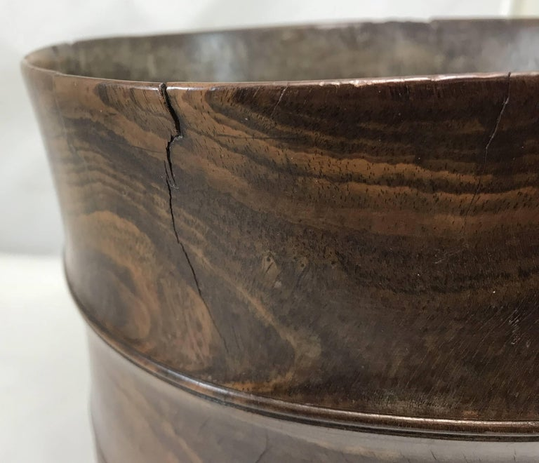 Wood Exceptional 17th Century Carved English Wassail Bowl in Figured Lignum Vitae For Sale
