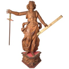 Exceptional 17th Century Carved Wooden Statue of Saint Micheal