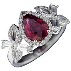 Exceptional 18 Karat White Gold, Diamond and Ruby Ring