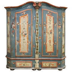 Exceptional 1812 Blue Floral Painted Wardrobe