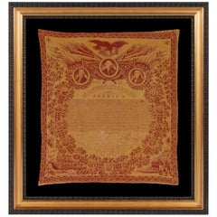 Exceptional 1821 Printed of the Declaration of Independence on Cloth