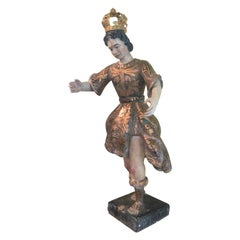Exceptional 18th Century Italian Santos of Roaming Shepard Original Paint/Gilt