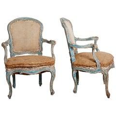 Exceptional 18th Century Rococo Armchairs, pair, circa 1760