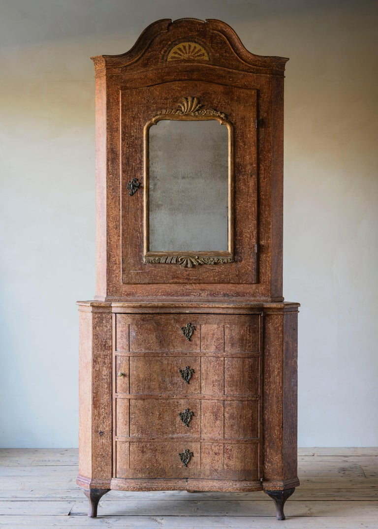 Exceptional and unusually large 18th century mercury mirrored Rococo corner cabinet in its original condition with a wonderful patination, Ca 1770 most likely Denmark, possibly south Swedish.