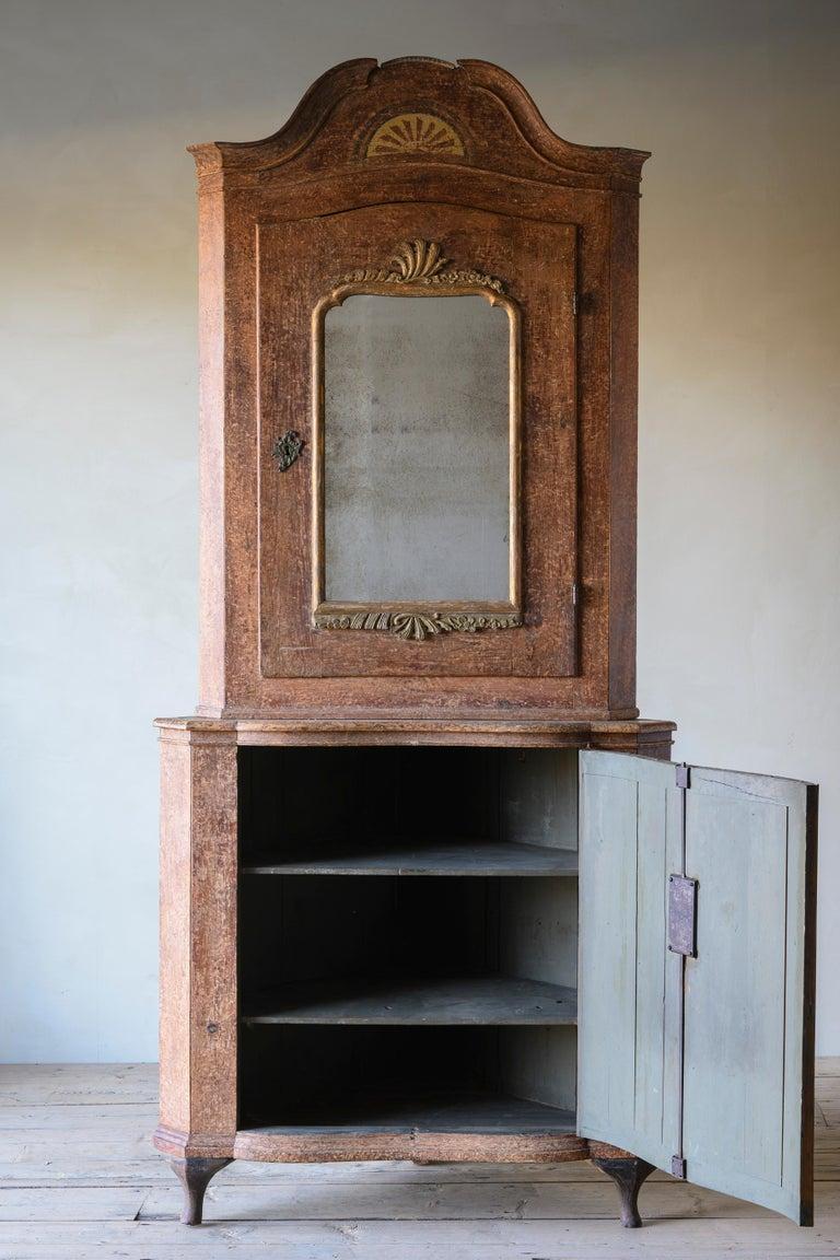 Danish Exceptional 18th Century Rococo Corner Cabinet For Sale