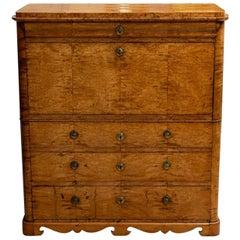 Exceptional 18th Century Swedish Birch Compartmental Secretaire or Bureau
