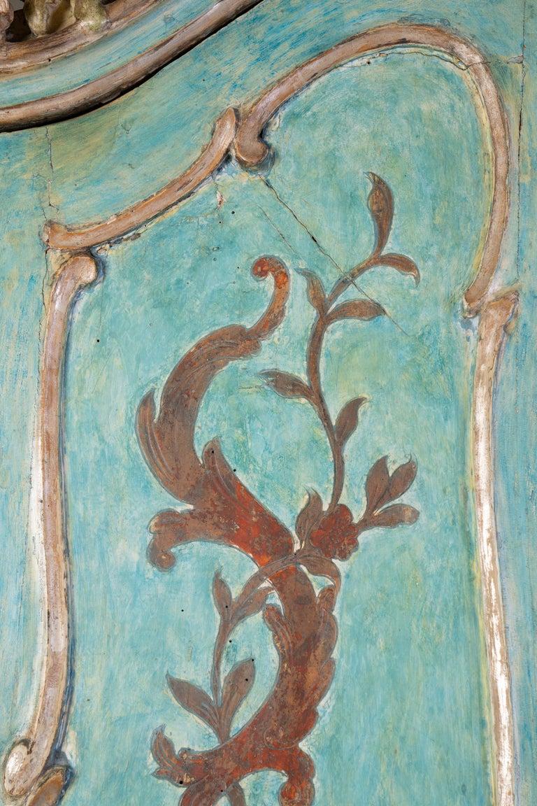 Fantastic painted Italian secretary with original designs, paint and interior silk fabric.