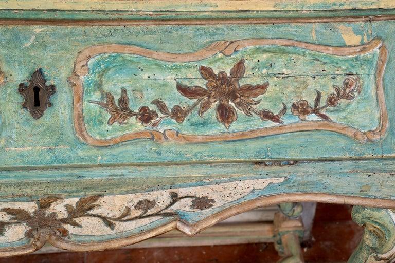 Italian Exceptional 18thc Painted Venetian Secretary Desk For Sale