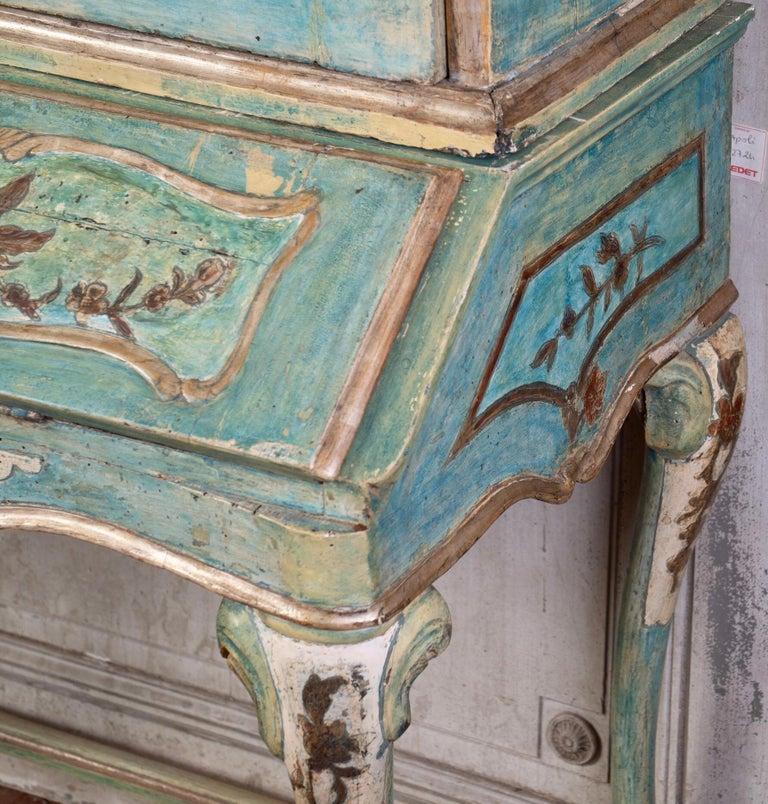Lacquer Exceptional 18thc Painted Venetian Secretary Desk For Sale