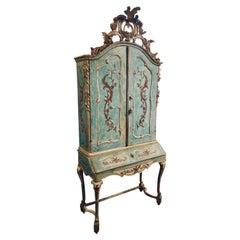 Exceptional 18thc Painted Venetian Secretary Desk