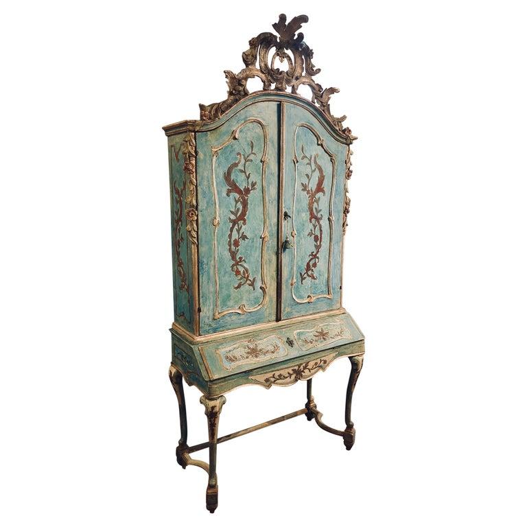 Exceptional 18thc Painted Venetian Secretary Desk For Sale