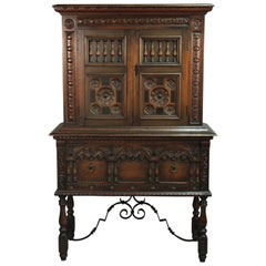 Exceptional 1920s Standing Cabinet with Iron Trestle