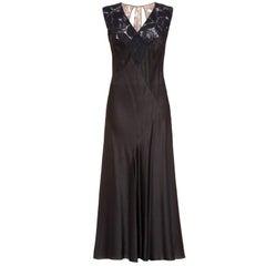 Exceptional 1930s Art Deco Rose Print Black Liquid Satin Evening Dress