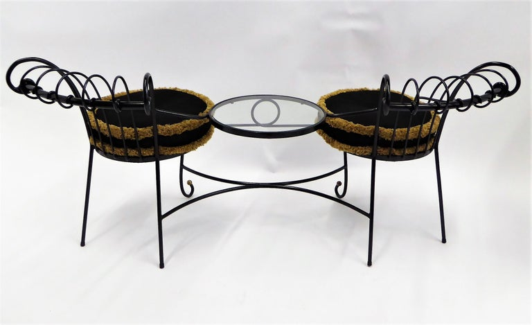 Exceptional 1950s Wrought Iron Tete a Tete or Settee in the Style of Tempestini For Sale 6