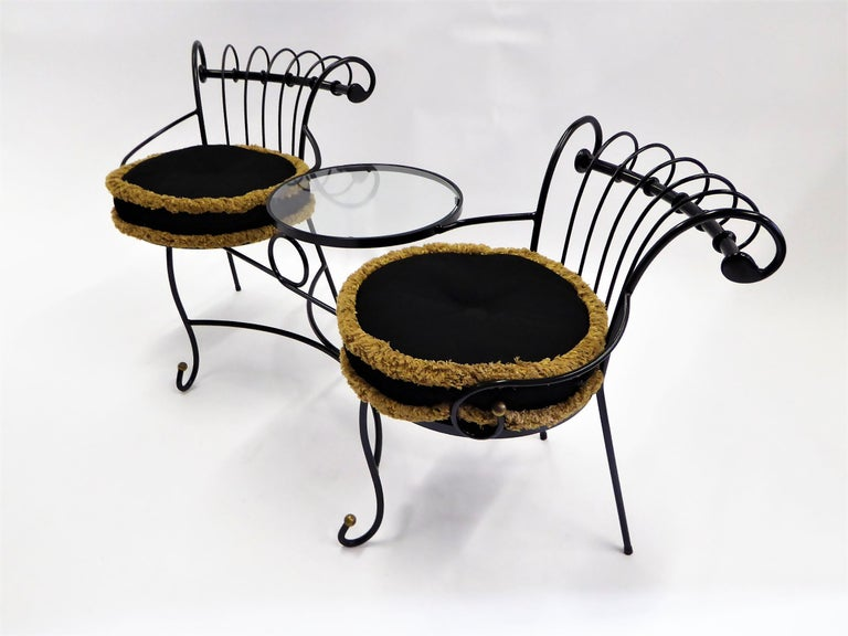 Mid-Century Modern Exceptional 1950s Wrought Iron Tete a Tete or Settee in the Style of Tempestini For Sale