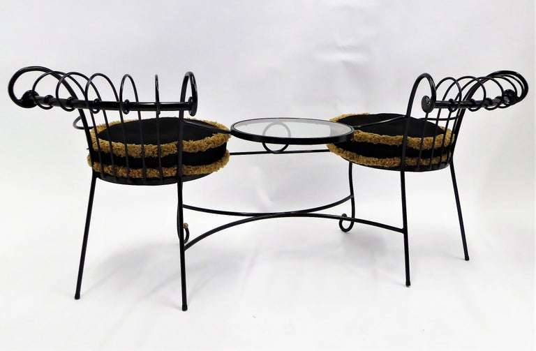 Italian Exceptional 1950s Wrought Iron Tete a Tete or Settee in the Style of Tempestini For Sale