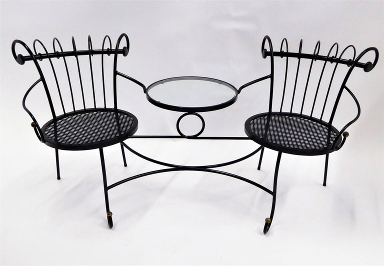 Enameled Exceptional 1950s Wrought Iron Tete a Tete or Settee in the Style of Tempestini For Sale